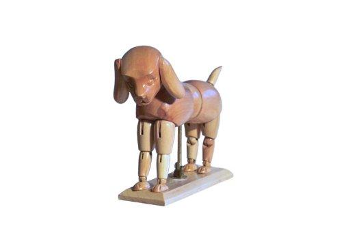 HUND - Modellpuppe / Gliederpuppe - Höhe ca. 13 cm aus Buchenholz Modellhund - Künstlerbedarf - Zeichenpuppe