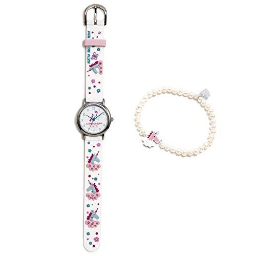 Conjunto Agatha Ruiz de la Prada AGR300 colección Fantasía niña unicornio reloj blanco pulsera plata - Modelo: AGR300