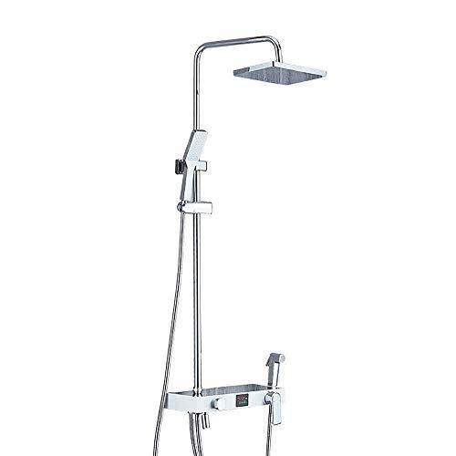 ZCYXQR Mezclador de Ducha de baño, duchas de Montaje en Pared, Sistema de Ducha con Ducha de Efecto Lluvia y Ducha de Mano, Juego de Ducha Mezclador de Ducha de baño Cromado