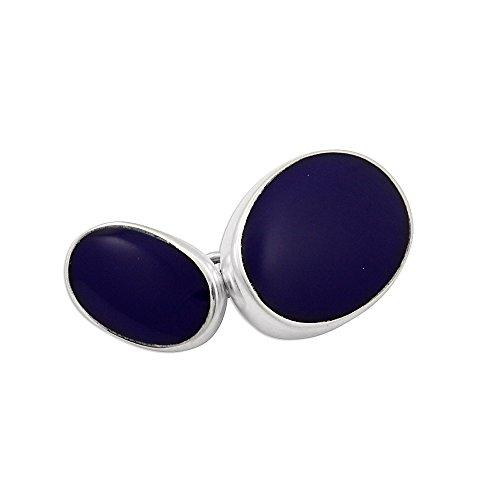 Boutons de Manchette Ovales en Argent 925/1000 et Lapis Lazuli - A Chaînette