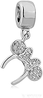 Minnie Mouse Ears Headband Silver Plated Charm European Compatible Spacer Bead for Jewelry Making Bracelet Necklace DIY Crafts