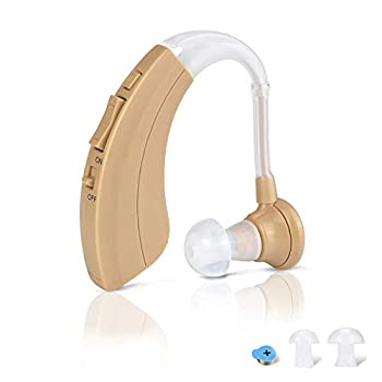 Digital Hearing Amplifier Aid - Personal Sound Device with 2Pcs 500hr Batteries 4 Channels Noise Reduction Hearing Aid Cleaning Kit for Adults and Seniors