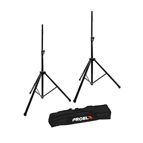 Proel FRE300KIT - Coppia di Supporti in Alluminio per sostenere Casse Acustiche Monitor Speakers + Bag/Borsa per trasporto, Nero