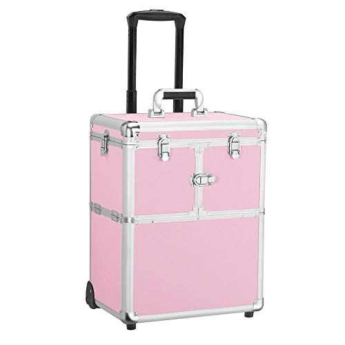 Yaheetech Professional Rolling Makeup Case Artist Travel Portable Travel Makeup Trolley Cosmetic Case Beauty Train Case Cosmetic Organizer