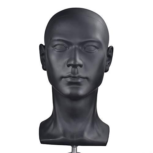 Schaufensterpuppenkopf aus Kunststoff, Männerkopf, mit Perücke, realistisch, zur Präsentation von Hüten, Sonnenbrillen