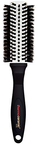 Denman Rund-Haar-Bürste Thermoceramic, zum Föhnen und Glätten mittellanger Haare, Keramikkörper mit Wildschweinborsten, Durchmesser 31/56 mm