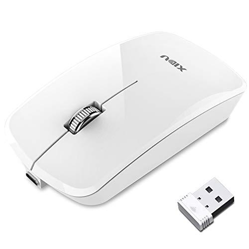 XIDU Maus Kabellos Wiederaufladbar, 2.4 GHz Optische Maus mit USB Nano Empfänger und USB-Kabel, 1200 DPI Kabellose Maus, Ergonomische Drahtlose Maus für PC/Tablet/Laptop/Notebook - Weiß
