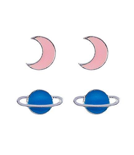 SIX Juego de 2 pendientes infantiles con luna y planeta, brillan en la oscuridad, color rosa y turquesa (296-952)