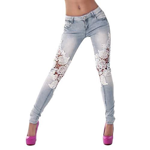 TIFENNY Skinny Jeans voor Vrouwen Zomer Dames Kant Naaien Jeans Skinny Potlood Broek Mode Denim Broek