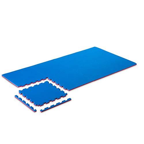 Pro Game Set 8 Stück Tatami Fitness 2 cm Basic-Home Blau/Rot 50x50 cm. Puzzlematte für Karate 2 cm