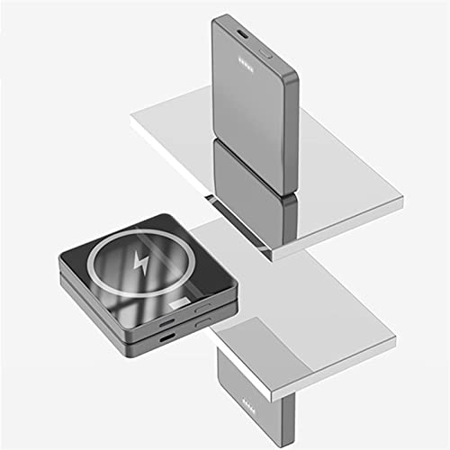 TWDYC Banco de energía inalámbrico magnético, cargador rápido inalámbrico Qi portátil de 15 W, batería externa con cable Pd de 20 W, compatible con iPhone 12/12 Mini/Pro/Max (5000 mAh, gris)