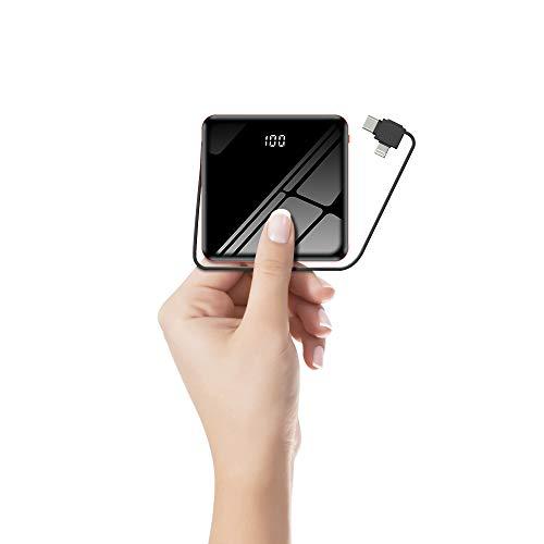 JvGoal Powerbank 10000mAh Externer Akku Mini mit Type C Lightning Micro USB Kabel Externer Batterie mit LED Digitalanzeige Kompatibel für iPhone, iPad, Huawei, Samsung