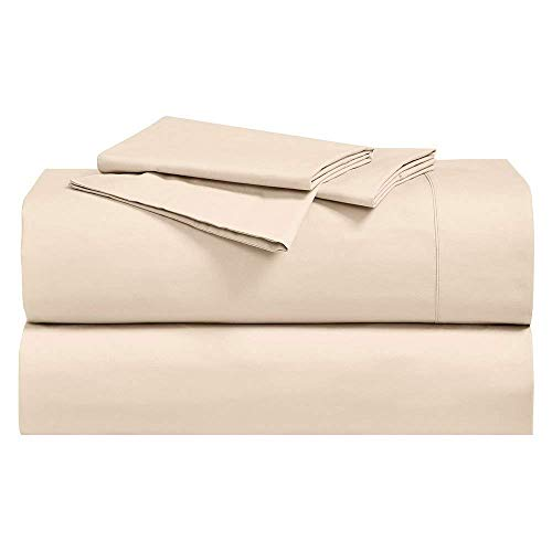 Abripedic Crispy Percale Sheets, 300-Thread-Count, 5PC Solid Sheet Set, 100% Cotton, Up to 18 Inch Deep Pocket, Split-King, Canvas