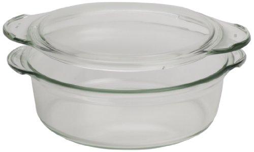 Simax Glassware 8593419414480 SIMAX. Plat rond résistant à la chaleur avec couvercle 1,8 L en verre transparent