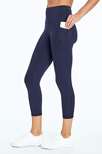 Bally Total Fitness Damen High Rise Pocket Mid-Wade Legging, Damen, Caprihose, High Rise Pocket Mid-Calf Legging, Midnight Blue, Medium