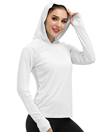 MIER Women's UPF 50+ Sun Protection Hoodie Shirt Long Sleeve Outdoor UV Shirt Running Hiking Tee Shirt, Quick Dry, White, L
