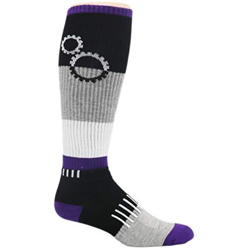 MOXY Socks Black and Purple ShiftGear Striped Knee-High Fitness Socks