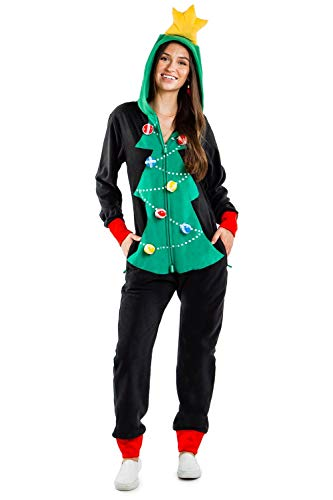 Women's Cozy Christmas Tree Toss Game Jumpsuit - Funny Christmas Tree Game Cozy Onesie: S