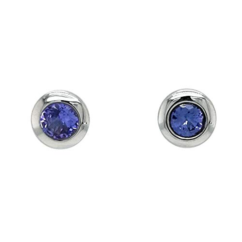 Sogni d´oro Silberzeit Ohrstecker rund aus 925 Sterling Silber mit blauem Tansanit Edelstein