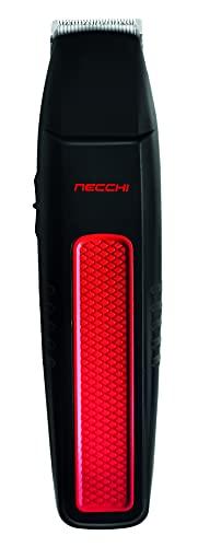 Necchi - Kit Regolatore per barba e baffi, regolatore per tagliare la barba, rifinitore per naso e orecchie, include 4 regolatori per barba, pettine, pennello, olio e adattatore, interruttore on/off