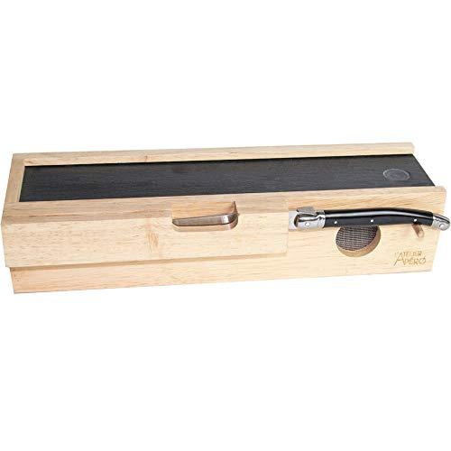 L'Atelier Apéro 38-2K-005 Cave à saucisson Bois et planche ardoise Avec son couteau Beige et noir H7,5 x 11 x 33 cm
