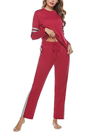 Akalnny Pijamas Mujer Algodón con Mangas Largas Pijama 2 Piezas Chandal Ropa de Casa Dormir Pantalón Largo Camiseta Suave Cómodo