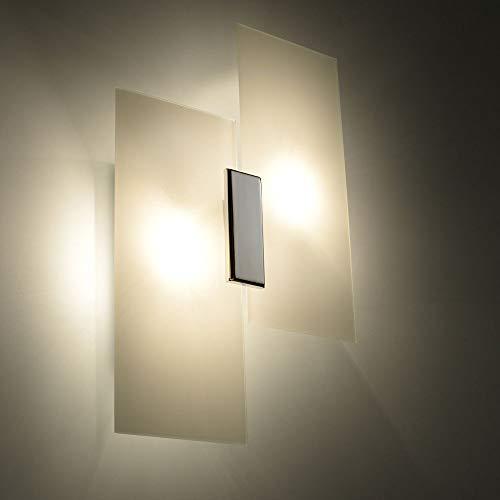 famlights Wandleuchte Armin aus Glas, Weiß | Wandlampe modern Wandlicht edel Wandbeleuchtung Design Wohnzimmer-Lampe Schlafzimmer-Leuchte Flur-Lampe Treppenhaus Eingangsbereich Küchen-Strahler E27