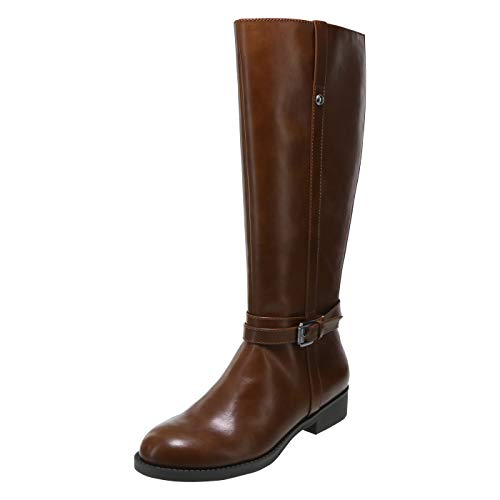 Lower East Side Cognac Women's Maisie Riding Boot 5 Wide Calf