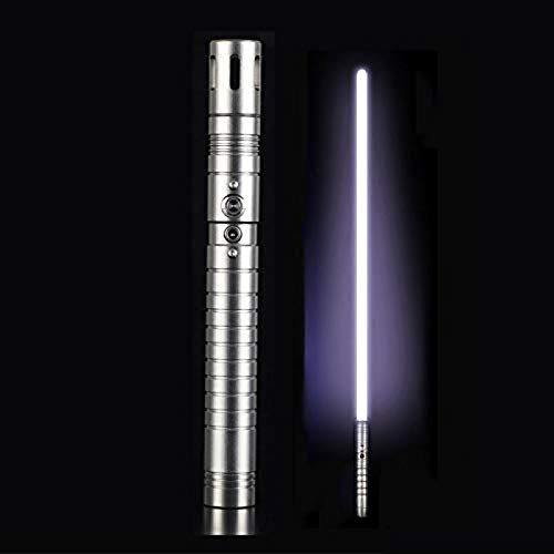 gengyouyuan Luminoso efecto de sonido de juguete espada niños adultos sable de luz metal apoyos espada Rgb SilverGrayHandle y WhiteLight