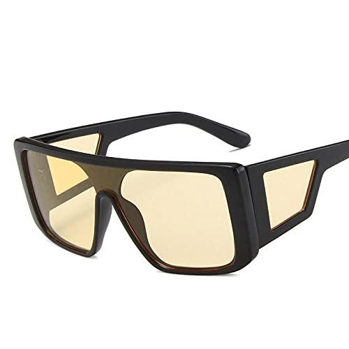 WQZYY&ASDCD Gafas de Sol Gafas De Sol De Gran Tamaño para Hombre Gafas De Sol Cuadradas para Hombre/Mujer Anteojos Vintage-Negroamarillo
