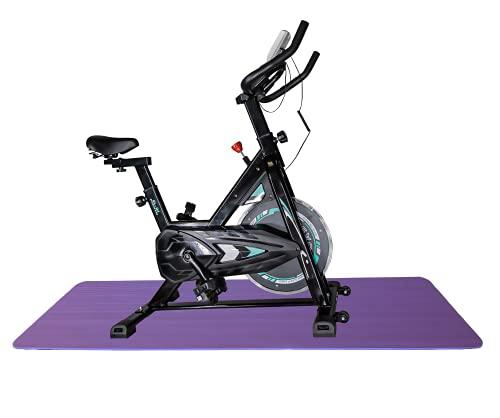 Bicicleta estática Spinning - Volante Inercia 6KG - pantalla LCD y pulsómetro Bici entrenamiento fitness con sillín y manillar ajustables Profesional , esterilla de yoga Color aleatorio