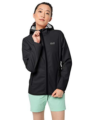 Jack Wolfskin Damen Northern Point Women Atmungsaktiv Wasserabweisend Winddicht Outdoor Funktionsjacke Wanderjacke Softshelljacke, Black, XXL