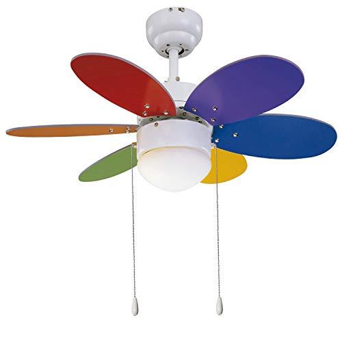 Sulion VT 30' 6P Rainbow Multimate - Ventilador de 76 cm diametro, Blanco/Multicolor Brillo/Mate