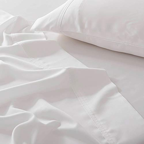 Olive + Crate Tencel King and Queen Size Sheets Set, Cool, Hypoallergenic and Moisture-Wicking Bedding for Soothing Sleep Fitted Sheet Two Pillow Cases and Flat Sheet, Extra Deep Pockets, White Snow