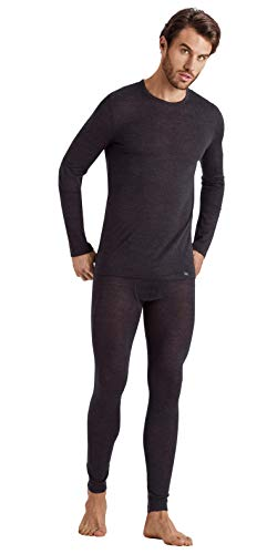 Hanro Herren Light Merino Long Sleeve Shirt Pyjama-Oberteil (Top), Phantom, Mittel