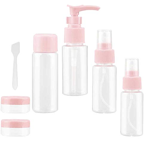QEBIDVL 7 PackTravel Bottles for Cosmetic Containing,ClearEmptyPlasticMinimakeup bottle,Travel Container for Toiletries(pink)