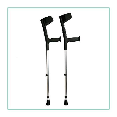 ORTONES | Pack de 2 Muletas Adulto con Doble Regulación Caña y Codo de Aluminio