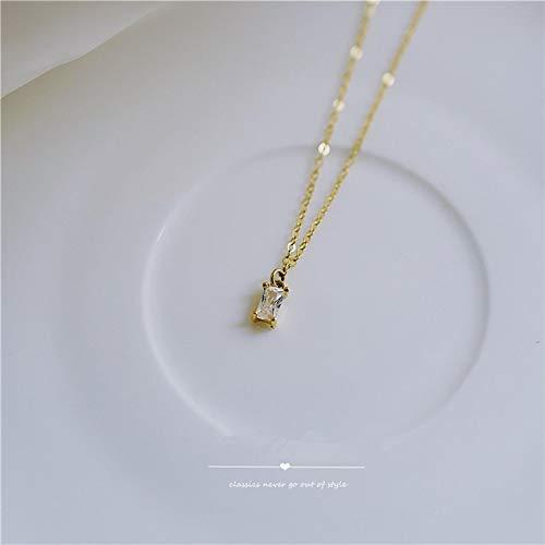 ShSnnwrl Colgante Collar de Oro conColgante de Diamante Cuadrado pequeño francés de Plata de Ley 925 paraMujer, Cadena de cla