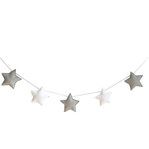 Depory 5 Adornos para Colgar con diseño de Estrellas Banderines para Fiestas Infantiles Decoración para habitación de bebé Niños o niñas Tela (Gris Blanco)