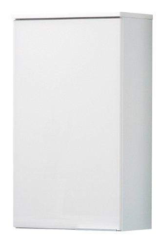 FACKELMANN Hängeschrank KARA / Badschrank mit Soft-Close-System / Maße (B x H x T): ca. 41 x 70 x 23 cm / hochwertiger Schrank fürs Bad / Türanschlag links / Korpus: Weiß matt / Front: lackiertes Glas in Weiß
