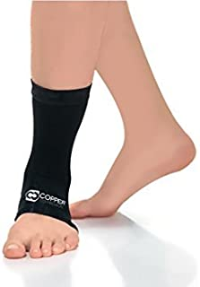 Copper Compression Recovery Ankle Sleeve - Guaranteed Highest Copper Content Best Infused Fit Ankle Brace Wrap Sock Stabilizer for Men + Women. Wear to Support Stiff + Sore Muscles + Joints (2XL)
