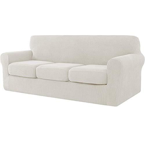 E EBETA Cubiertas de sofá, Funda de sofá 3 Plaza + 3 Fundas de cojín, Tejido Jacquard de poliéster y Elastano, Tunez Funda sofá (Blanco Crema, 3 Plazas)