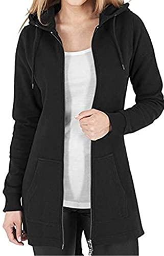 Tuopuda Sweat-Shirt Femme Sweat à Capuche Zippé Épais Hoodie Sport Hiver Manche Longue Manteau Grande Taille Coupe-Vent Gilet Long Automne avec Poches Zip Up Sweatshirts, Noir, XL