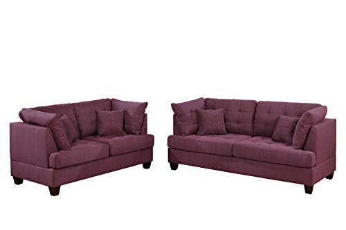 Bobkona 2-Pcs Sofa & Loveseat Purple