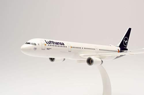 "herpa 612432 – Airbus A321, ""Die Maus"", Lufthansa Doppeldecker, Wings, Modell Flugzeug mit Standfuß, Modellbau, Miniaturmodelle, Sammlerstück, Kunststoff, Snap Fit - Maßstab 1:250"