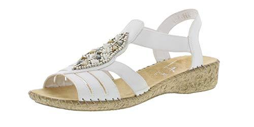 Rieker 61661 Femme Sandale à lanières,Spartiates,Sandales Gladiator,Chaussures d'été,Confortables,weiss/80,36 EU / 3.5 UK