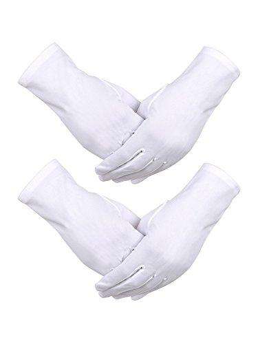 Sumind 2 Pairs Nylon Cotton Gloves White Uniform Gloves Tuxedo Gloves Formal Police Gloves Guard Parade Glove