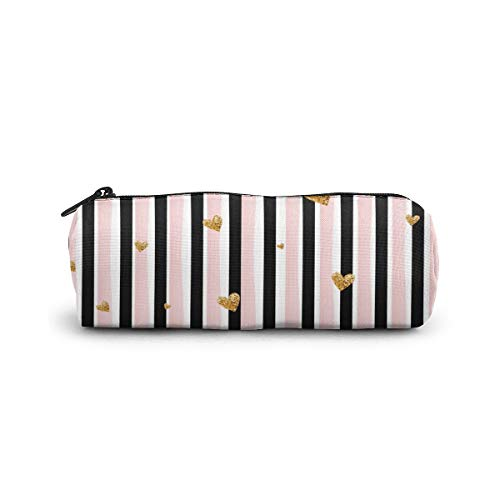 Cylinder Cosmetic Bag Golden Hearts Vertical Stripes Background Pencil Case Small
