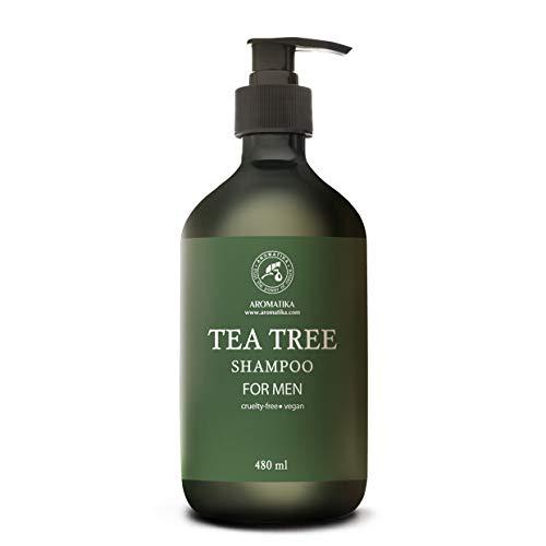 Shampoo con Tea Tree Oil per Uomo 480 ml - Olio Essenziale di Albero del Tè - Estratti di Uva Spina Indiani & Rosmarino - Shampoo Antiforfora - Contro Secchezza - Allevia Irritazioni Cutanee Comuni