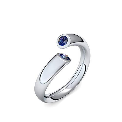 Silber Ring Saphir 925 + inkl. Luxusetui + Saphir Ring Silber Saphirring Silber (Silber 925) - Fusion Amoonic Schmuck Größe 60 (19.1) MW04 SS925SAFASAFA60